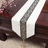 Neue minimalistische Tischfahne moderne Gartentischdecke Couchtischdecke Tischset Bettflagge Betttuch weiß 33x200 cm (13x79
