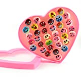 #5: Colorful Smiley Emoji Shaped Set of 36 Finger Rings for Girls Gifting