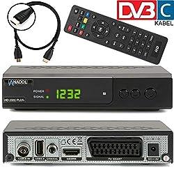 Anadol HD 202c + digitaler Full HD Kabel Receiver für digitales Kabelfernsehen inkl. HDMI Kabel (HDTV, DVB-C / C2, HDMI, SCART, Mediaplayer, USB 2.0, 1080p) [automatische Installation] - schwarz
