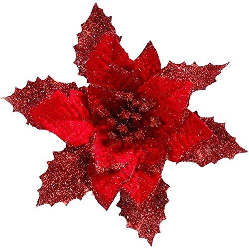 Fiori artificiali in velluto, 17 cm, per albero di natale, decorazione artificiale, fiore finto, colore: oro/argento/rosso, rosso