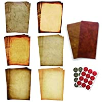Antique Stationary Paper and Envelopes Set - Vintage Parchment Paper Old Fashioned Letter Stationery for Printing, Invitation and Calligraphy - 48 Writing Paper with 24 Envelopes 24 Stickers Included