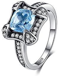 JewelryPalace Anillo Retro 1.8ct Topacio Cielo Azul natural en plata de ley 925