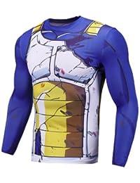 Sibaway Tshirt Vegeta manga larga | disfraz Dragon Ball | camiseta musculación Goku | T Shirt