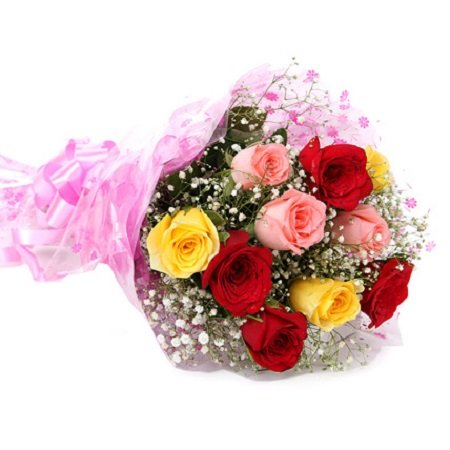 Floral Fantasy Fresh Flower Bouquet (Bunch of 10 Mix Colour Roses) - FFBU0010SM