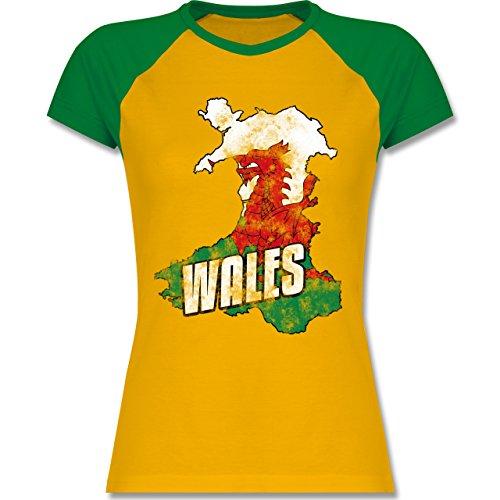 EM 2016 Frankreich Wales Umriss Vintage zweifarbiges Baseballshirt / Raglan  TShirt für Damen Gelb/Grün