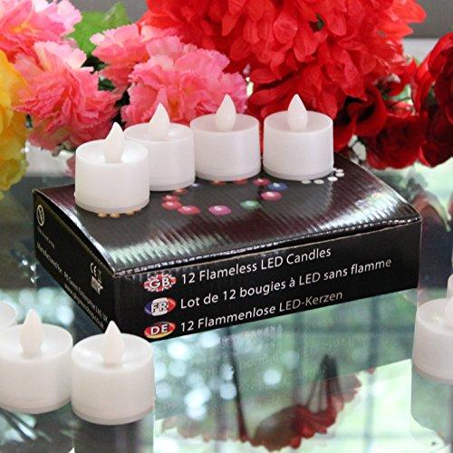 24luz de té funciona con pilas sin llama velas con parpadeo ámbar LED por pk verde
