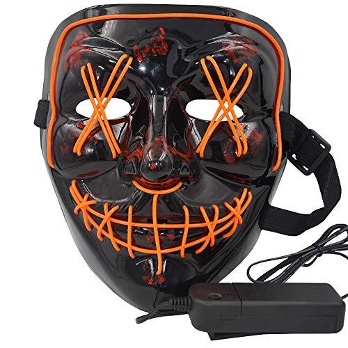 Maschera di halloween led light up maschera di purificazione per festival cosplay costume di halloween (luce arancione)
