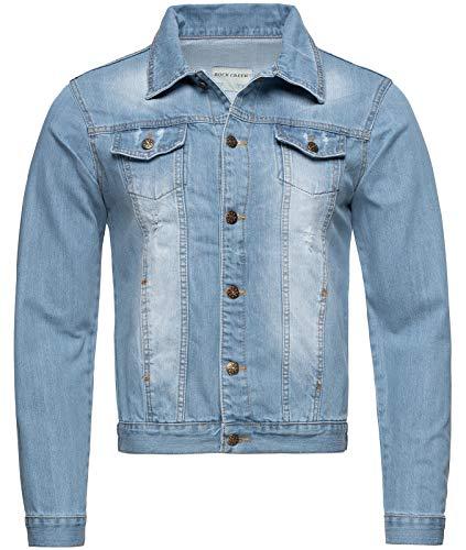 Rock Creek Herren Jeansjacke Denim Übergangsjacke Basic Stretch Jacke Herrenjacke Stonewashed Jeans Freizeitjacke Kentkragen Hellblau RC-2212 XL (Jeans-jacken Für Männer)