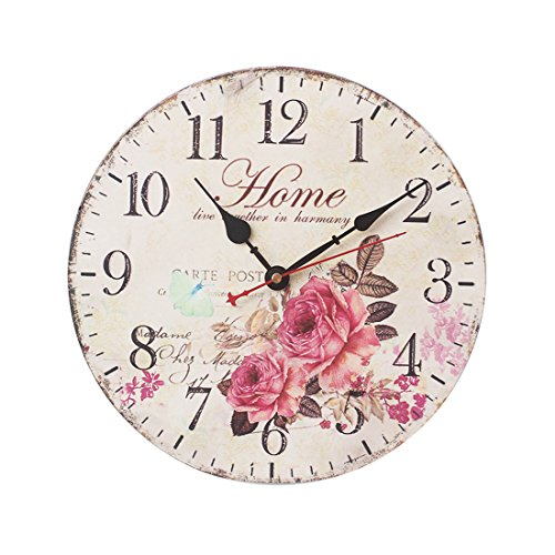 FOKOM 12 Zoll 30cm Holz Lautlos Vintage Wanduhr Uhr Wall Clock ohne Tickgeräusche