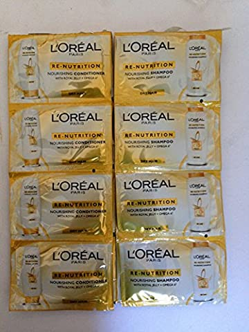L'Oreal Re-nutrition Nourishing Shampoo & Condtioner with royal jelly For Dry Hair Sachets - Holiday Pack of 8 of