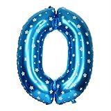 Number Foil Balloons 0 - Blue, Foil Ball...