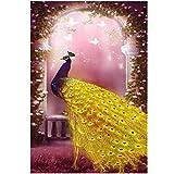 Mrinb Pfau Painting, DIY 5D Diamant Malerei Kit Kristalle Diamant Stickerei Strass Malerei Kleben Malen nach Zahlen Stich Kunst Kit Zuhause Dekor Mauer Aufkleber