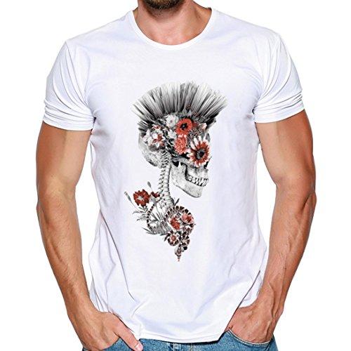 T Shirt Herren, HUIHUI Coole V-Ausschnitt Kurzarm Sweatshirt Slim Fit Basic uv Polo-Shirt Mode Sport Oberteile Oversize Bench Tops Schädel Drucken Sommer Freizeit Hemd Poloshirt (M, Weiß)