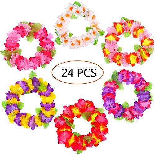 Junenoma 24 STÜCKE Luau Tropical Hawaiian Stirnband Kopfschmuck Leis-Sommer/Tiki/Pool Mahalo Flower Party Dekorationen,Mix,24PCS (Hawaiian Leis, Flower)