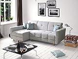 Ecksofa Sofa Eckcouch Couch mit Schlaffunktion und Bettkasten Ottomane L-Form Schlafsofa Bettsofa Polstergarnitur - TUCSON (Ecksofa Links, Hellgrau)