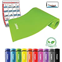 POWRX Tapis de Gymnastique avec Sangle de Transport + Poster d´entraînement | Tapis d'exercice Tapis de Yoga sans Phtalate 190 x 60 x 1,5cm ou et 190 x 100 x 1,5cm | différentes Couleurs