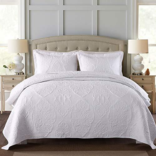 gesteppt Tagesdecke Bettüberwurf Sofa Überwurf Uni Natur einfarbig Übergröße Doppelbett (230 x 250 cm, Weiß) -