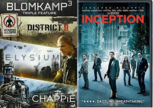 World of dreams Leonardo DiCaprio Inception + Blomkamp 3 DVD Elysium / District 9 / Chappie 4 movie sci-fi mayhem Action 2-Pack