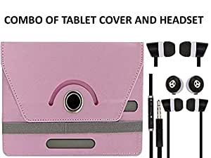 Value Combo Of Babypink Tablet Book Flip Case Cover And Black Headset Earphones For BSNL Penta Ws703c With 3.5mm Jack