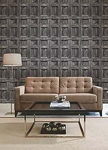 Papier peint mural motif panneaux bois argent/anthracite/gris FD31056