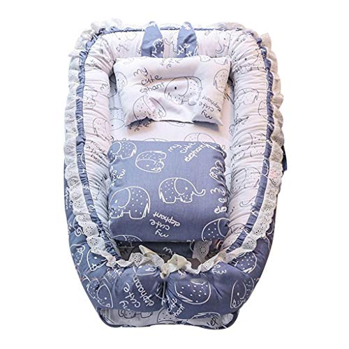 Nid De Sommeil Pod Lit De Bébé Multifonctionnel Pliable, Couette Et Oreiller Lit De Couchage (Color : Blue, Size : 90x55x15cm)