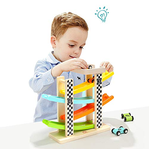 Toddler Toys Wooden Ramp Car Tower Race Track Parking Garage Learning & Activity Play Set for 2 Year Old Boy and Girl Gifts