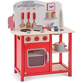 New Classic Toys- New Toys-11055-Cucina Classic Rosso Giocattolo in Legno accessoriata per Bambini Educazione Tavola Divertimento Accessori da Cucina, Colore Red, 11055