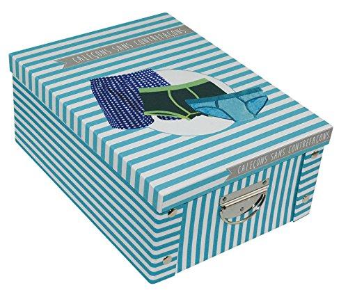 Incidence Paris 42539 Adekuat Boîte Caleçons Carton Bleu 34,5 x 26 x 14 cm
