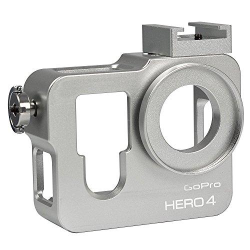 MENGS® Carcasa de aluminio caso para GoPro Hero 4Con Filtro Y Tapa de objetivo–Plata