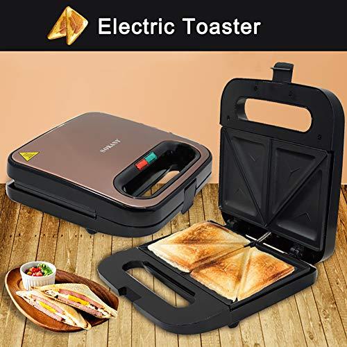 0Miaxudh Sandwich-Toaster, 750W elektrischer Antihaft-Tray-Toaster,...