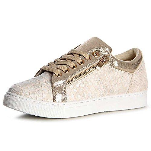 topschuhe24, Sneaker donna Gold