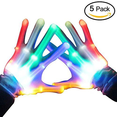 Topfire Handschuhe LED Bunte Beleuchtung Finger Glow Für Halloween, Clubs, Festivals, Weihnachten, Stage Performance, Sports, Party - 5 Paar