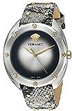 Versace Damen-Armbanduhr shadov Quarz Edelstahl und Snake Skin, Farbe: silberfarbene (Modell: vebm00718)