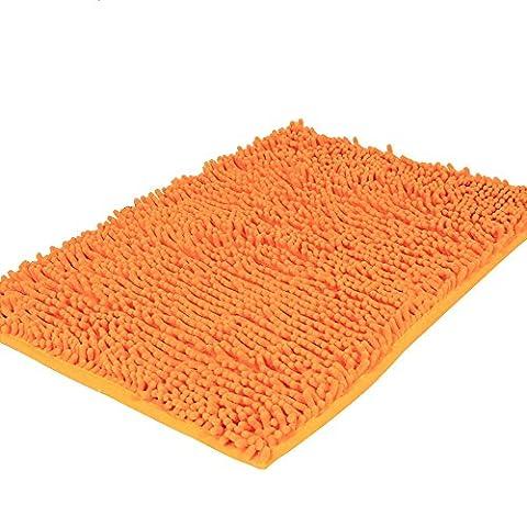 Pingenaneer Tapis de Bain Absorbant Antidérapant / Super Doux Tapis de Douche Tapis Microfibre pour Salle de Bain - 50 x 80 cm(Orange)