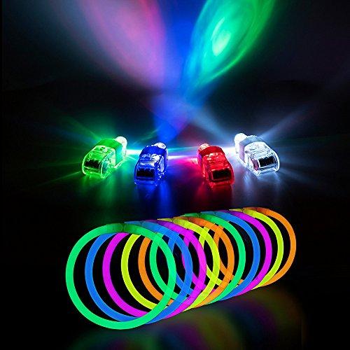 TJW 100Stück Glow Sticks also 20,3cm Knicklichtern geliefert Sticks Armbänder gemischte Farben mit 40LED-Fingerlichter für Kinder Erwachsene (Glow Preise Stick)