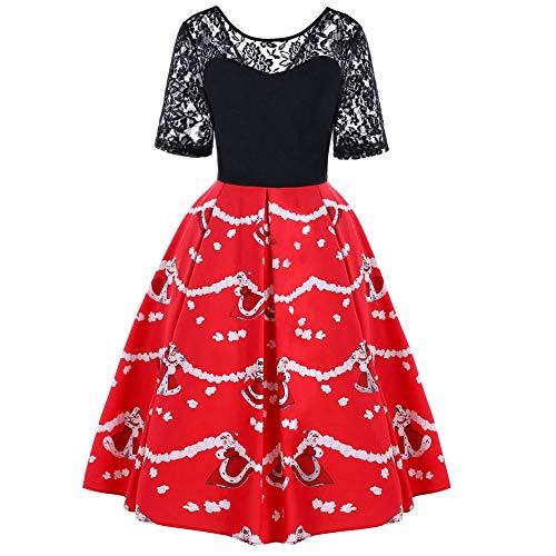 Yesmile Vintage Kleid Frauen Weihnachten Vintage 50er Spitze Sleeves Rockabilly Swing Kleider Retro...