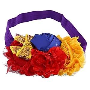 Itaar® Carina Fascia dei Capelli per Bambina Neonata Fiori Cravatta a Farfalla Paillette Principessa 6 Stili da Scegliere (Arancia+ Rosso)