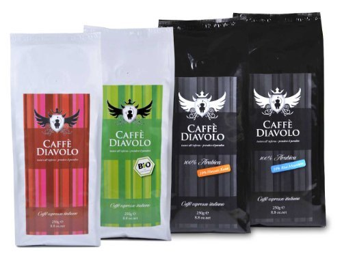 Caffé Diavolo Probierpaket 4 x 250 g (1 kg), ganze Bohne