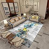 DAMENGXIANG Moderne Gold Fisch Abstrakte Landschaft Teppich Für Wohnzimmer Schlafzimmer Rutschfeste Bodenmatte Wohnkultur Große Größe Fuß Pad 80 × 120 cm