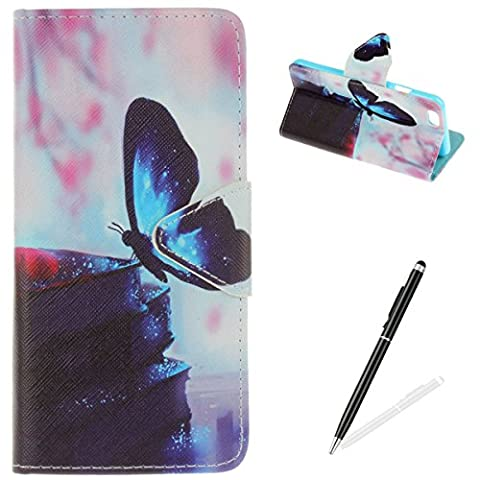 iPhone 6 Plus/6S Plus Case,iPhone 6 Plus/6S Plus Wallet Case,MAGQI Premium Flip PU Leather Money Pouch Case Colorful Painting Petals Pattern [Stand Function] [Magnetic Closure] Protective with Card Slots Bult-in Soft Inner Bumper Book Style Cover for iPhone 6 Plus/6S Plus - Blue