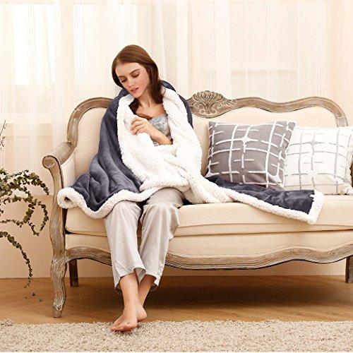 Sherpa Decke Doppelbett Flanell Fleece Wende Fuzzy Überwurf Mikrofaser All Season Weiche Warme Decke für Bett oder Couch, grau, 150 x 200 cm (Blau, Großes Bett Tröster Set)