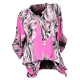 TianWlio Damen Langarmshirt Bluse T-Shirt Tops Mode Frauen Übergröße Drucken V-Ausschnitt Button Langarm Bluse Pullover Tops Shirt