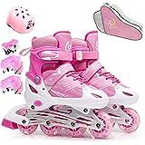FL Bygo Kinder Rollschuhe Skates männer und Frauen einstellbare pu Gummi räder gerade Reihe atmungsaktiv Flash Rollschuhe Set,Pink,S