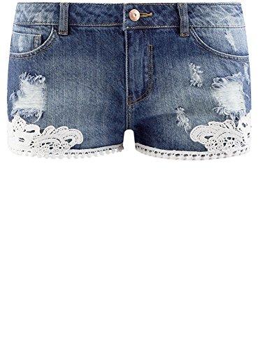 oodji Ultra Damen Jeansshorts mit Spitze Blau (7900W)