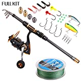 Supertrip TM Spin Spinning Fishing Rod and Reel Combos Full Kit Carbon Telescopic Fishing Rod with Reel Line Lures Hooks and Accessories Fishing Gear Sea Saltwater Freshwater Kit 1.8M 5.9ft Fishing Full Kit