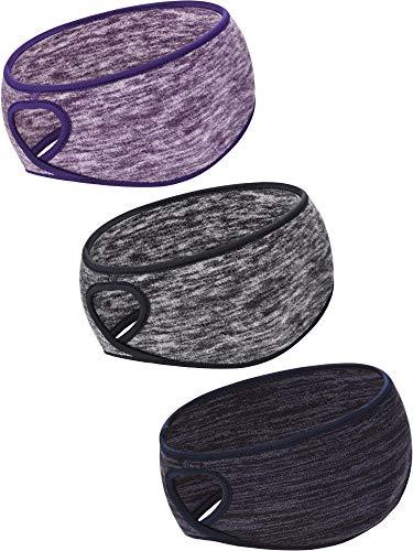 Blulu 3 Stücke Pferdeschwanz Stirnband Damen Winter Stirnband Ohrwärmer Laufen Stirnband für Damen Mädchen Draussen Sports (Farbe Set 1)
