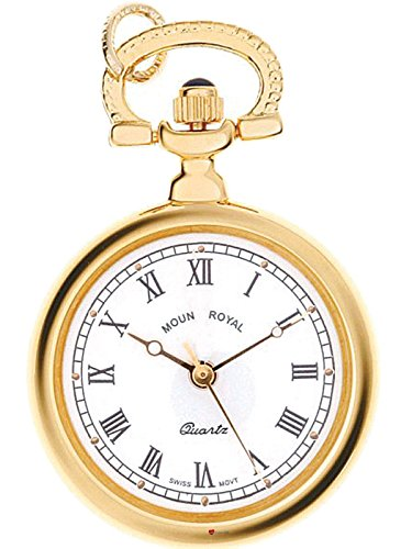 Classic Pendant Fob Watch Open Face Round Gold Finish Roman Numerals - Quartz (Taschenuhr Open Face Gold)
