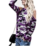 Feitong Damen T-Shirt Frauen Abseits der Schulter Tarnung Lange Ärmel Bluse Tops T-Shirt(EU-38/CN-L, Lila)