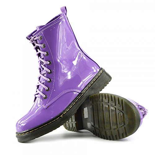 Kick Footwear - Ladies ankle retro combat boot womens lace funky vintage goth ankle boot Viola