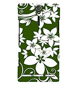 Fabcase white and green floral art multiple flowers environment beautiful nature Designer Back Case Cover for Sony Xperia SL :: Sony Xperia S :: Sony Xperia SL LT26I LT26ii